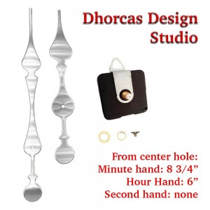 """(#01S) Quartz Clock Movement kit, quiet motor and LONG Silver 9"""" hand, choose from regular to long shafts and hanger"""