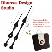 "(#01) Quartz Clock Movement kit, quiet motor and LONG Black 9"" hand, choose from regular to long shafts and hanger"
