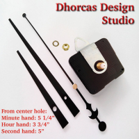 "(#03) Quartz Clock Movement kit, quiet motor and LONG Black 6"" hand, choose from regular to long shafts and a hanger."