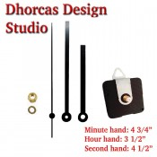 "(#019) Quartz Clock Movement kit, quiet motor and Black 5"" hand, choose from regular to long shafts and a hanger."