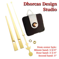 "(#03G) Quartz Clock Movement kit, quiet motor and LONG Gold 6"" hand, choose from regular to long shafts and a hanger."