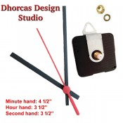"""(#022) Quartz Clock Movement kit, quiet motor and Black PLASTIC 4.5"""" hand, choose from regular to long shafts and a hanger."""