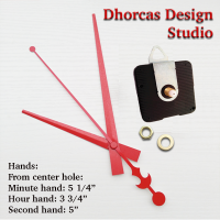 "(#03R) Quartz Clock Movement kit, quiet motor and LONG Red 6"" hand, choose from regular to long shafts and a hanger."
