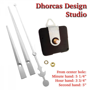 "(#03S) Quartz Clock Movement kit, quiet motor and LONG Silver 6"" hand, choose from regular to long shafts and a hanger."