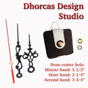 "(#016) Quartz Clock Movement kit, quiet motor and Black 3.5"" hand, choose from regular to long shafts and a hanger."