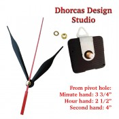 """(#024) Quartz Clock Movement kit, quiet motor and Black 3.5"""" hand, choose from regular to long shafts and a hanger."""