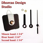 "(#011) Quartz Clock Movement kit, quiet motor and Black 1 3/4"" hand, choose from regular to long shafts and a hanger."