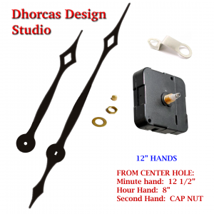 "(#028) Quartz Clock Movement kit, quiet i-motor and LONG Black 12 1/2"" hand, choose from regular to long shafts and hanger"