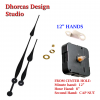 "(#029) Quartz Clock Movement kit, quiet i-motor and LONG Black 12"" hand, choose from regular to long shafts and hanger"