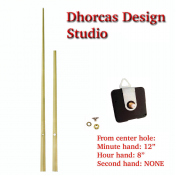 "(#014G) Quartz Clock Movement kit, quiet i-motor and LONG Gold 12"" hand, choose from regular to long shafts and hanger"
