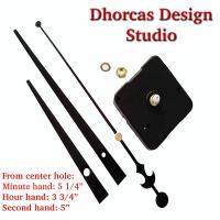 "(#03) Quartz Clock Movement kit, quiet motor and LONG Black 6"" hand, choose from regular to long shafts"