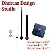 "(#019) Quartz Clock Movement kit, quiet motor and Black 5"" hand, choose from regular to long shafts"