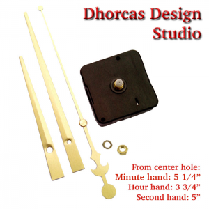 "(#03G) Quartz Clock Movement kit, quiet motor and LONG Gold 6"" hand, choose from regular to long shafts."