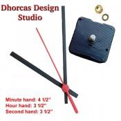 "(#022) Quartz Clock Movement kit, quiet motor and Black PLASTIC 4.5"" hand, choose from regular to long shafts"