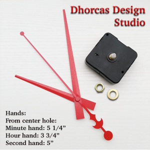 """(#03R) Quartz Clock Movement kit, quiet motor and LONG Red 6"""" hand, choose from regular to long shafts"""