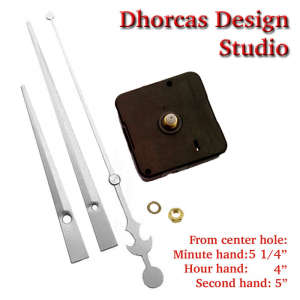 """(#03S) Quartz Clock Movement kit, quiet motor and LONG Silver 6"""" hand, choose from regular to long shafts"""