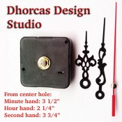 "(#016) Quartz Clock Movement kit, quiet motor and Black 3.5"" hand, choose from regular to long shafts"