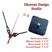 "(#026) Quartz Clock Movement kit, quiet motor and Black PLASTIC 3.5"" hand, choose from regular to long shafts"