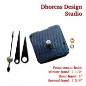 "(#023) Quartz Clock Movement kit, quiet motor and Black 1 1/2"" hand, choose from regular to long shafts"