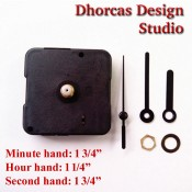 "(#011) Quartz Clock Movement kit, quiet motor and Black 1 3/4"" hand, choose from regular to long shafts"