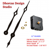 "(#028) Quartz Clock Movement kit, quiet i-motor and LONG Black 12 1/2"" hand, choose from regular to long shafts"