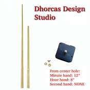 "(#014G) Quartz Clock Movement kit, quiet i-motor and LONG Gold 12"" hand, choose from regular to long shafts"